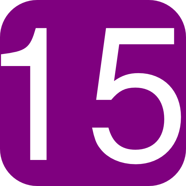 Download this image as: - Number Fifteen PNG