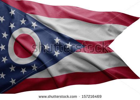 Waving colorful Ohio flag - Ohio Flag PNG
