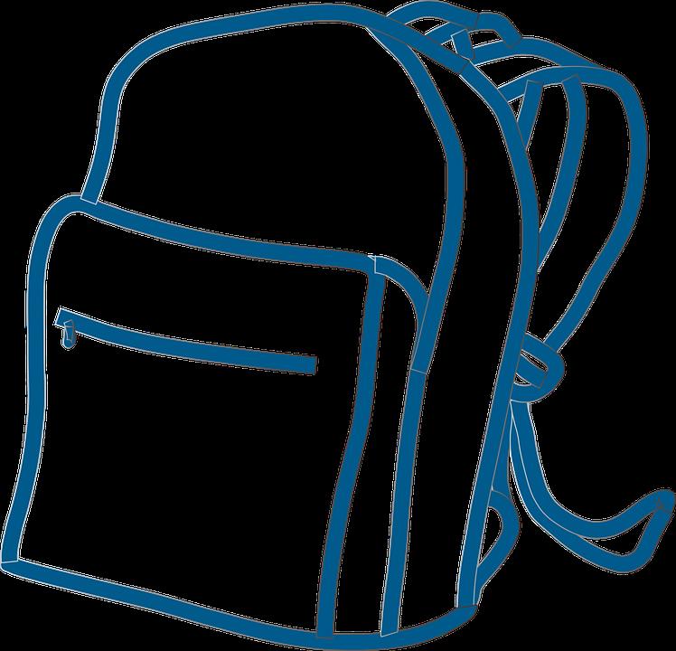 Sırt Çantası, Öğrenci, Okul, Mavi, Anahatları - Okul Cantasi PNG