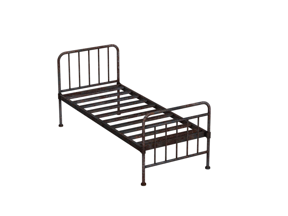 bed metal bed old antique stainless rusty rusted - Old Bed PNG