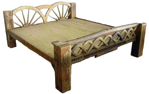 Bed Teakwood farmer style - Old Bed PNG