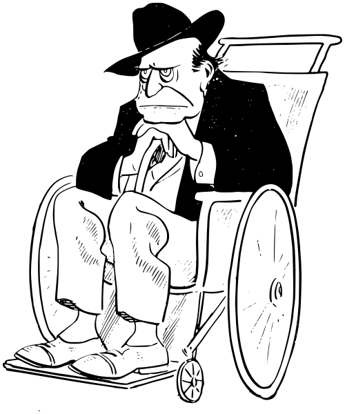 old man in wheelchair - /people/male/old_guy/old_man_in_wheelchair.png.html - Old Man PNG Black And White