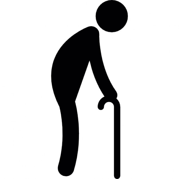 Old man walking with a crutch Free Icon - Old Man PNG Black And White
