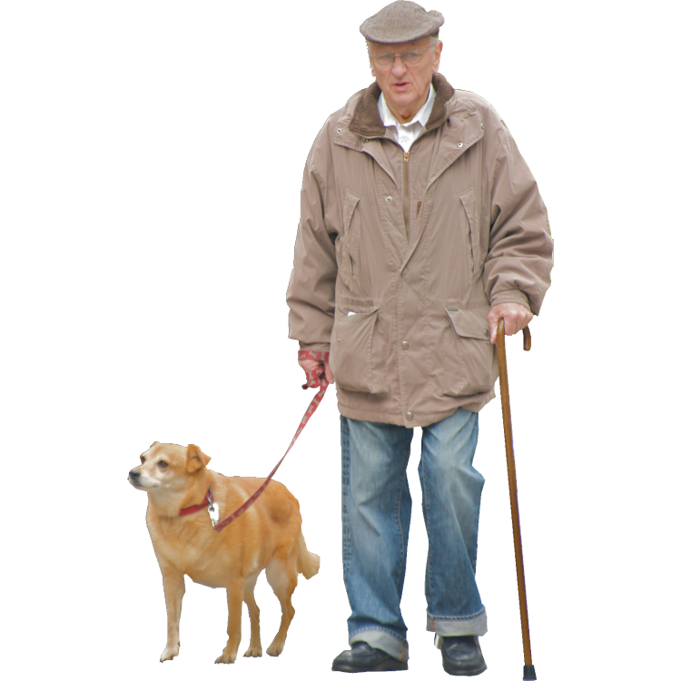 Old Men Walking The Dog