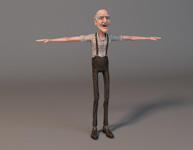 old man 3d model obj fbx stl lxo lxl mtl 1 PlusPng.com  - Old Man Standing PNG