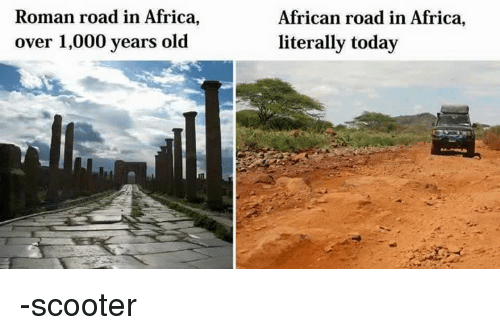 Africa, Scooter, and Today: Roman road in Africa, over 1,000 years old - Old Roman Road PNG