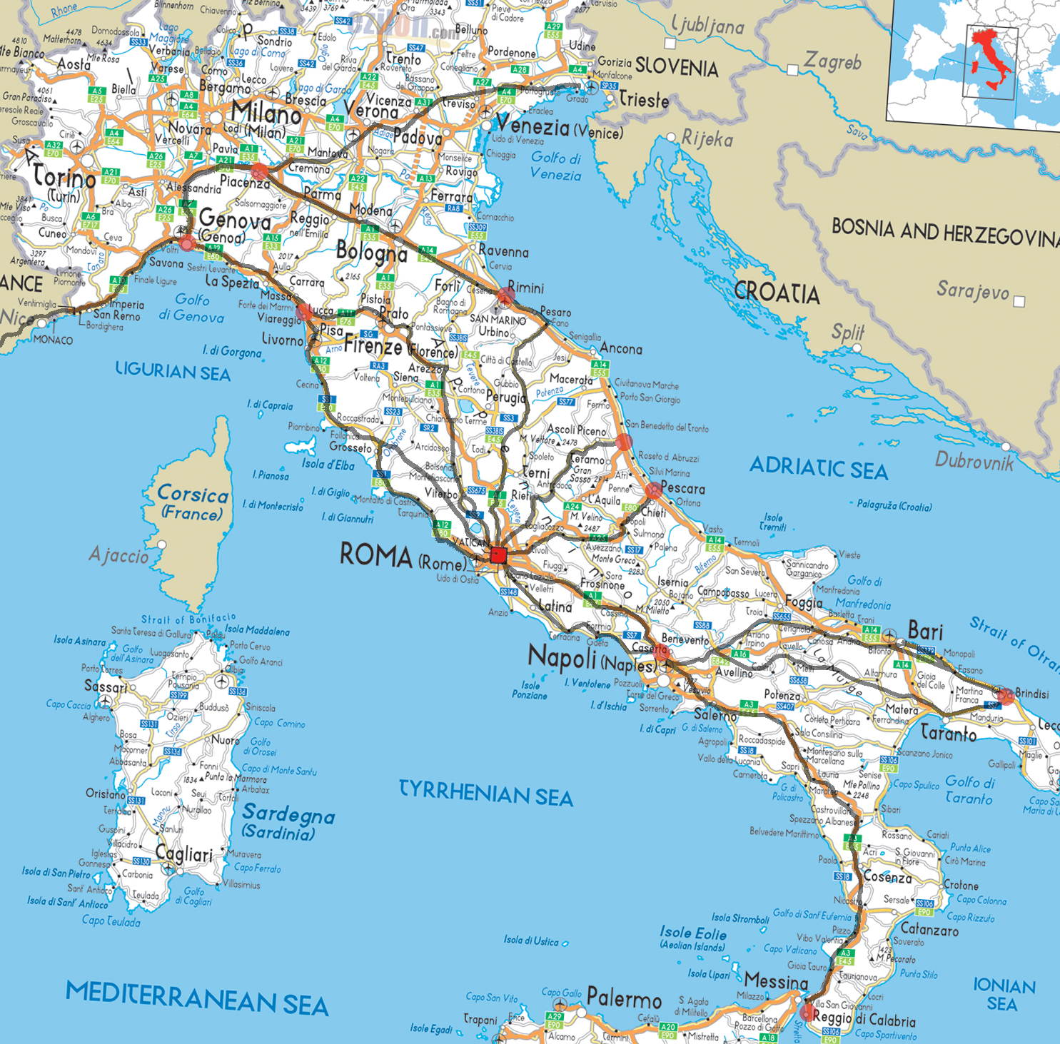 Ancient Roman roads overlaid on a modern road map of Italy - Old Roman Road PNG