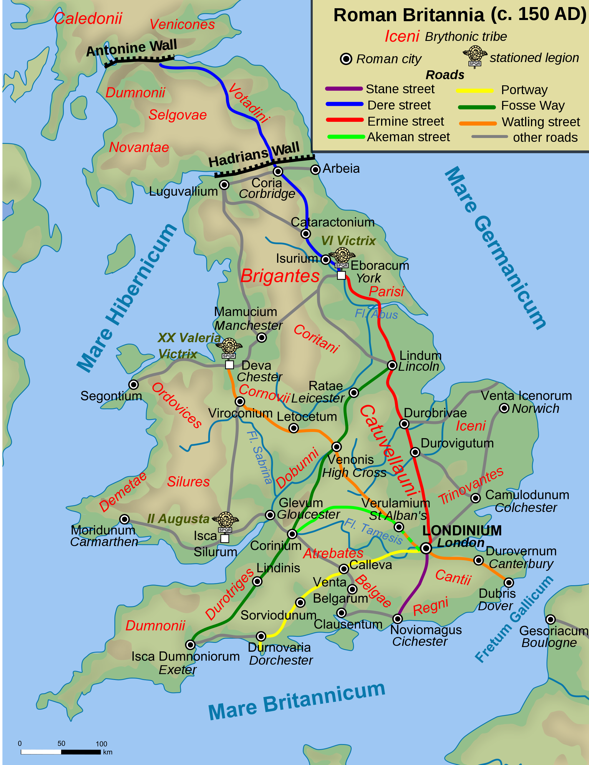 Map of Roman Britain, 150 AD - Old Roman Road PNG