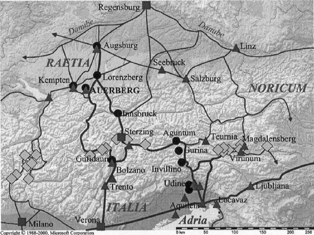 Roman road system in southern Germany, Austria and northern Italy. Black  dots mark sites where Auerberg-type blackware with marble temper was found. - Old Roman Road PNG