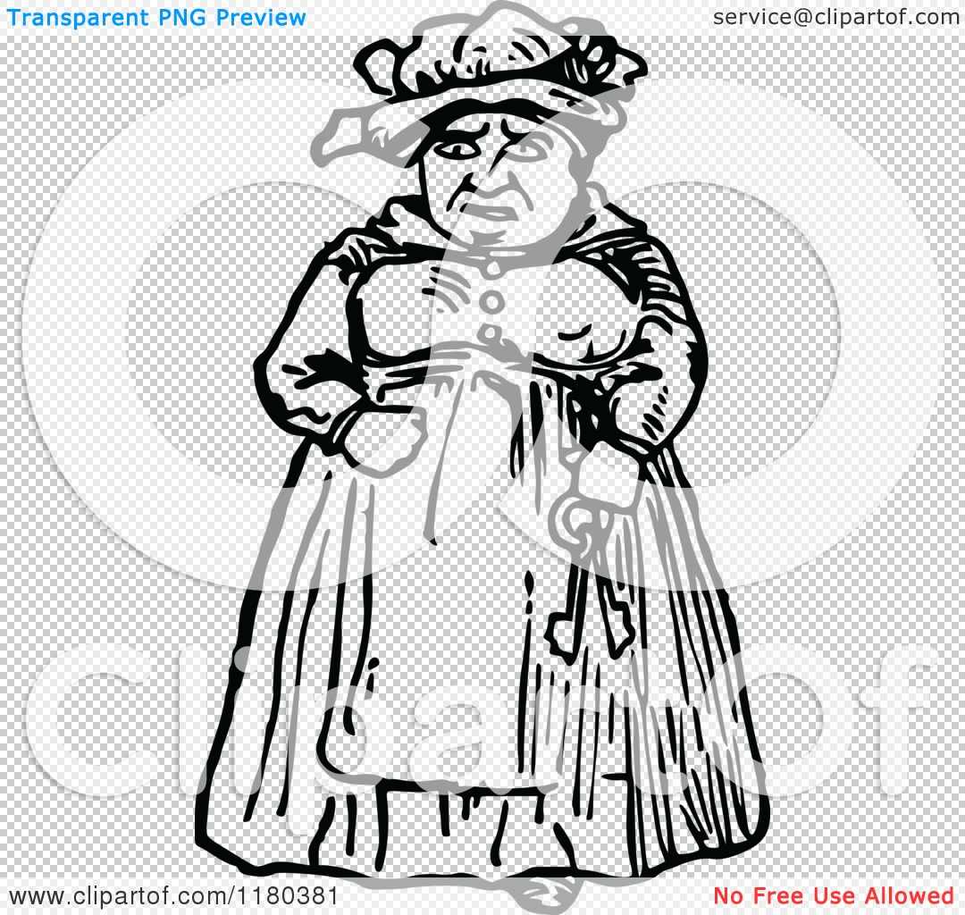 PNG file has a PlusPng.com  - Old Woman PNG Black And White