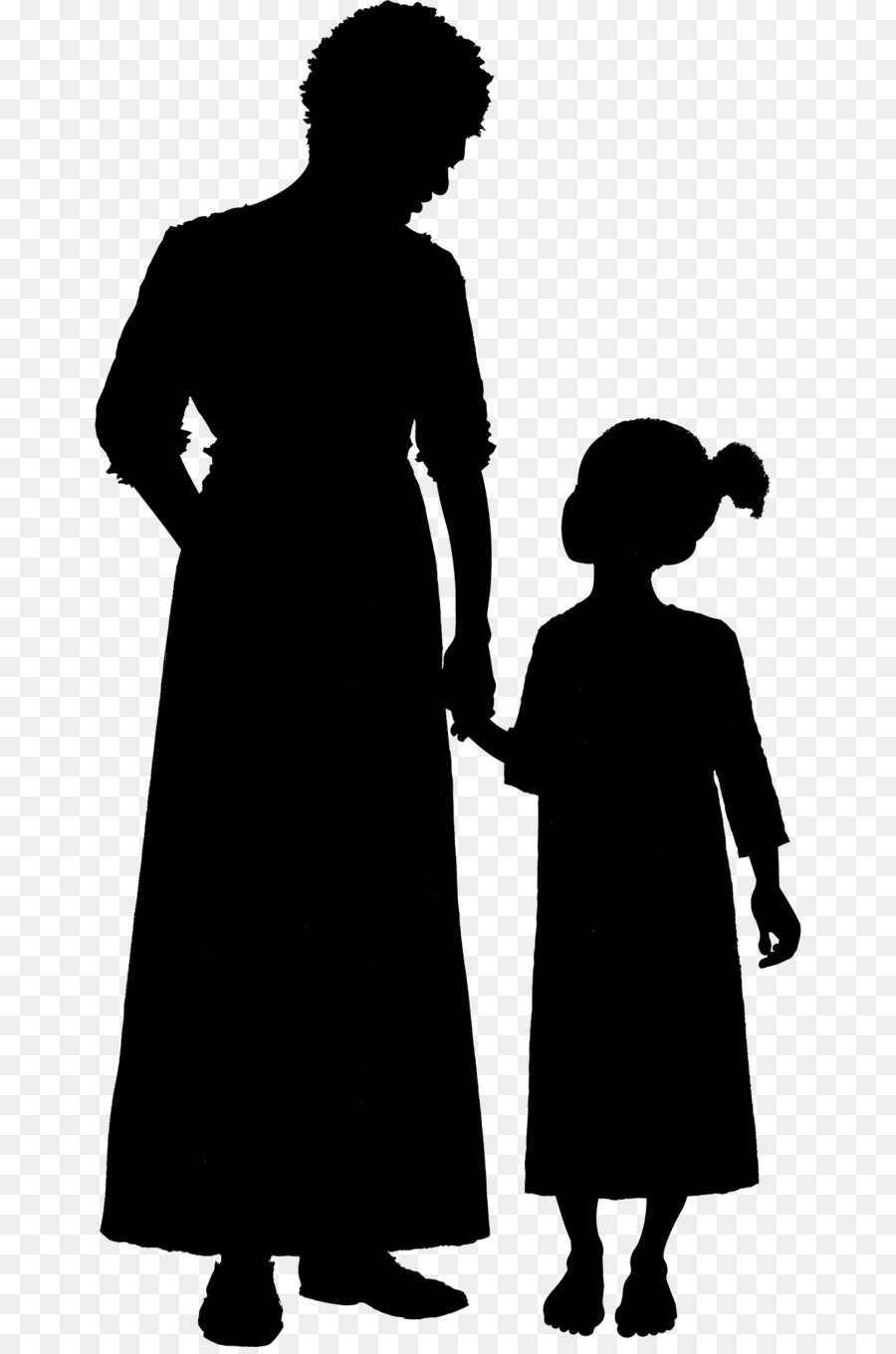Silhouette Woman Child Clip art - old woman - Old Woman PNG Black And White