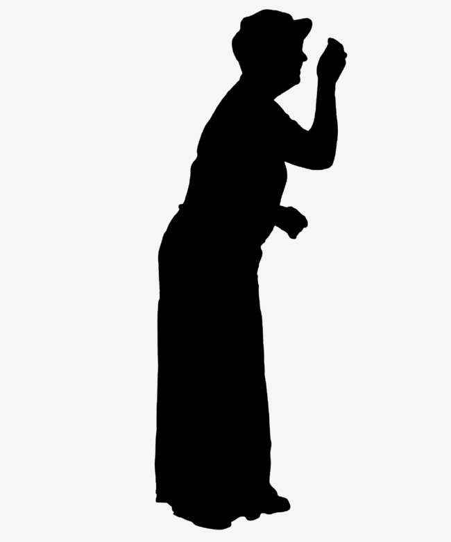 the old lady knocking silhouette, Old People, Sketch, Old PNG Image and  Clipart - Old Woman PNG Black And White