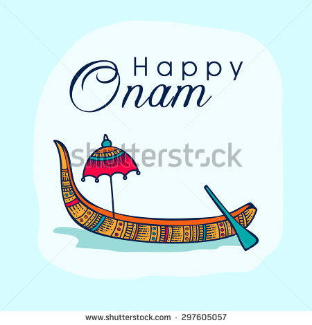 Beautiful greeting card decorated with floral snake boat and umbrella on  shiny sky blue background for - Onam Boat PNG