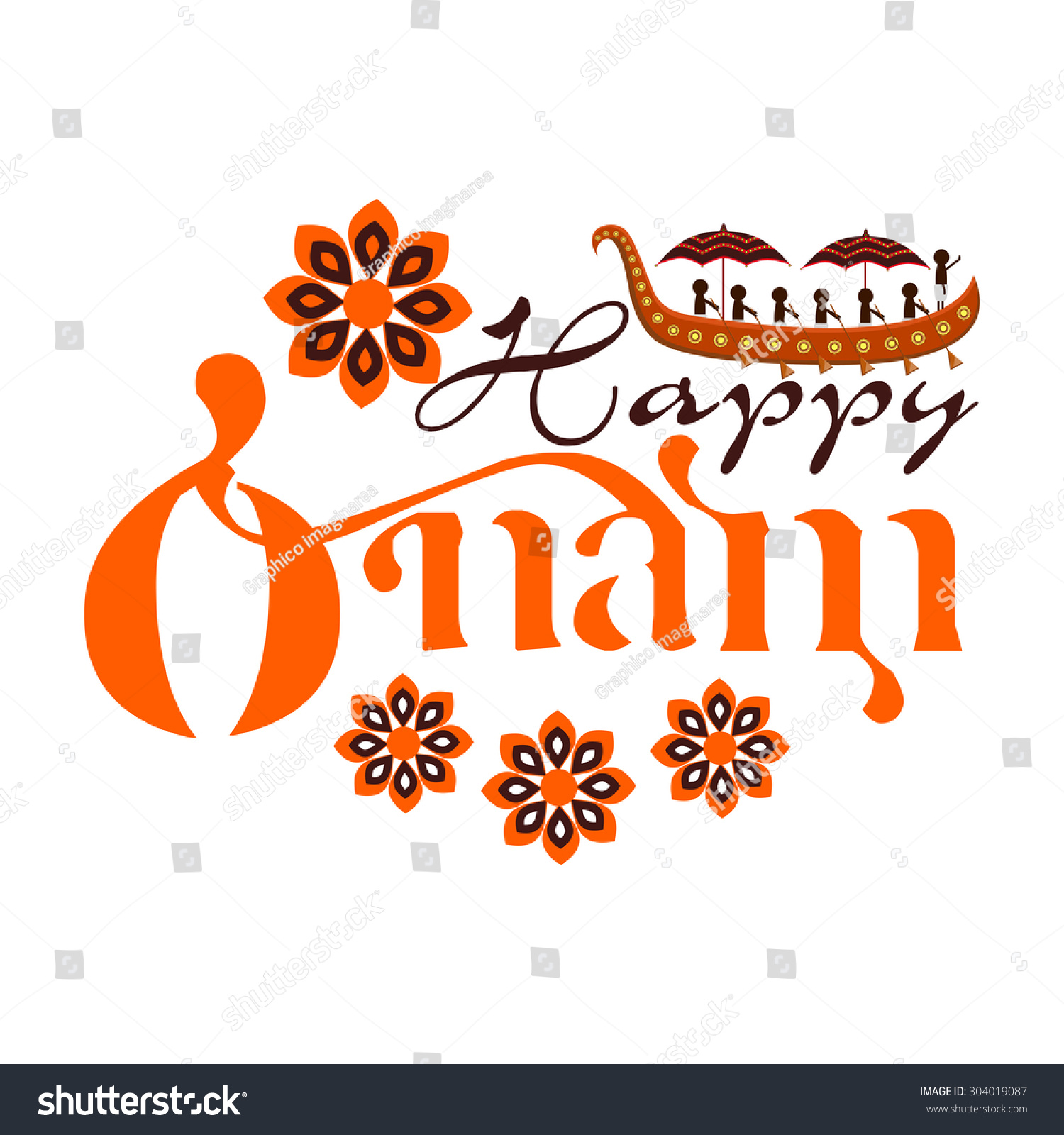 Happy Onam Festival Design With Onam Boat and floral - Onam Boat PNG
