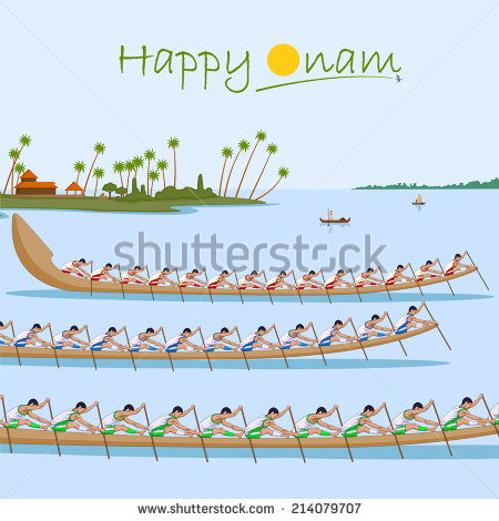 Boat race of Kerala for Onam celebration in vector - Onam Festival Boat Race PNG