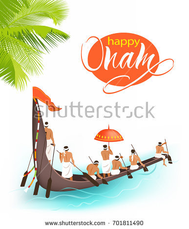 Greeting background with boat race (vallamkali) for South India harvest festival  Onam. Vector - Onam Festival Boat Race PNG