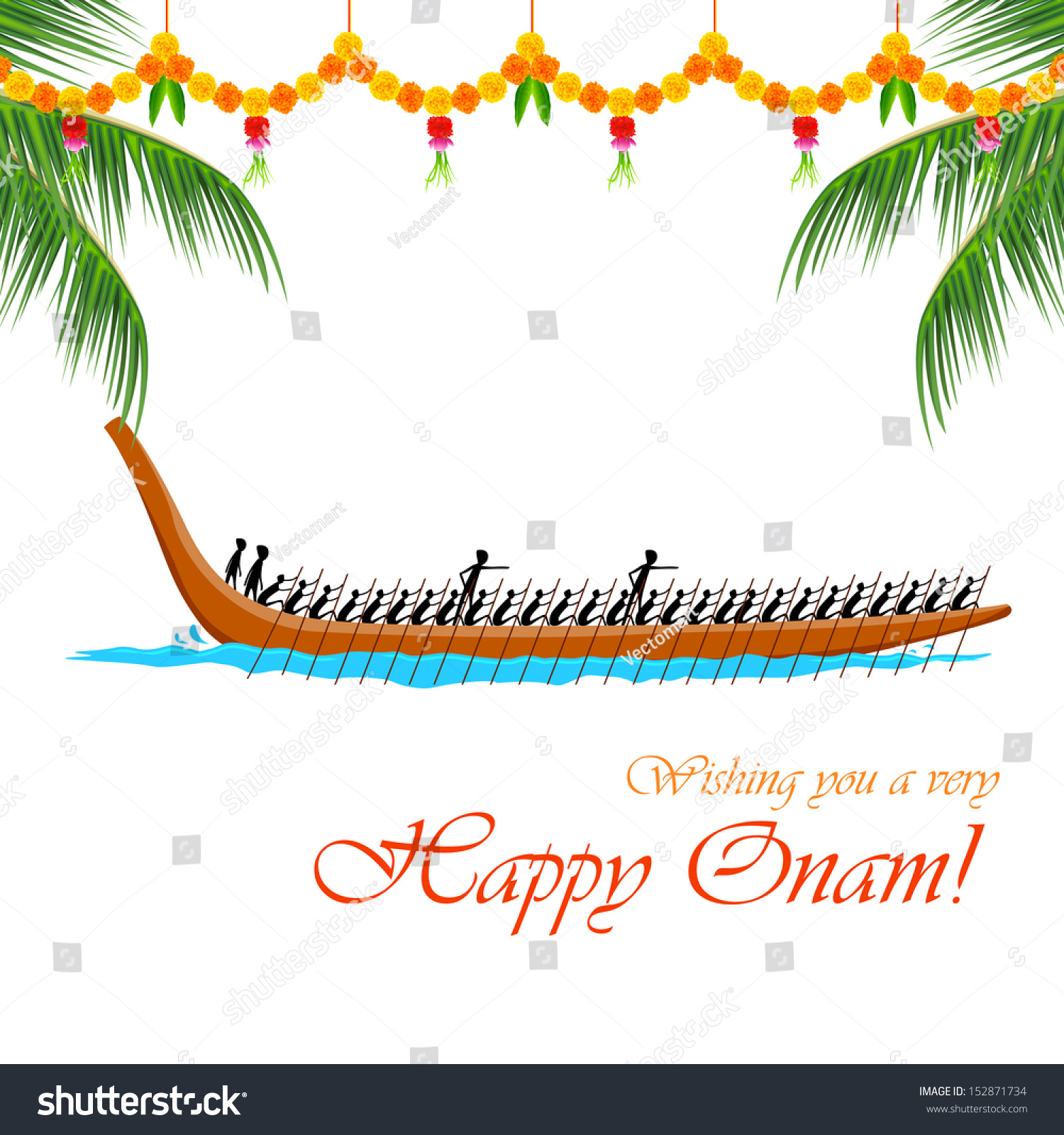illustration of Boat Race of Kerla on Onam - Onam Festival Boat Race PNG