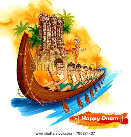 illustration of Meenakshi temple backdrop Snakeboat race in Onam celebration  background for Happy Onam festival of - Onam Festival Boat Race PNG
