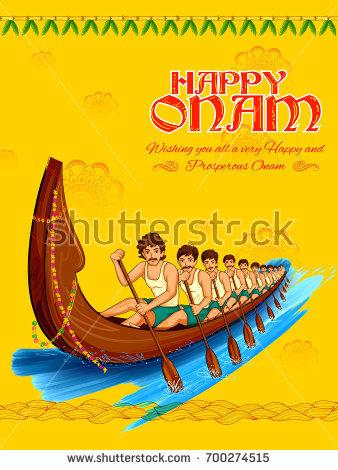 illustration of snakeboat race in Onam celebration background for Happy Onam  festival of South India Kerala - Onam Festival Boat Race PNG