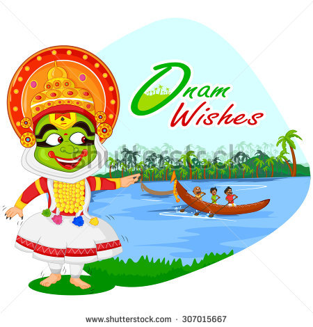Kathakali dancer doing boat race of Kerala for Onam celebration in vector - Onam Festival Boat Race PNG