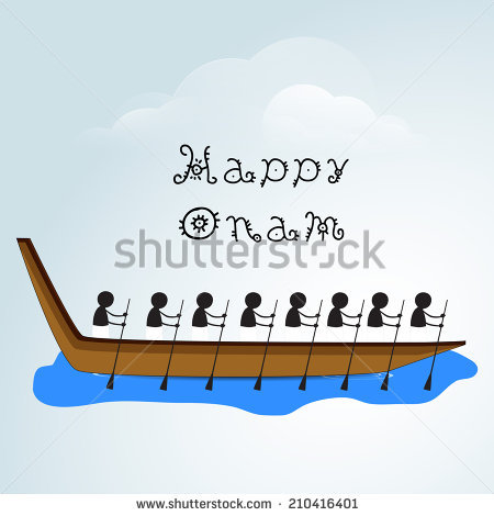 Silhouette of South Indian people participating in snake boat racing on  creative clouds background for Happy - Onam Festival Boat Race PNG