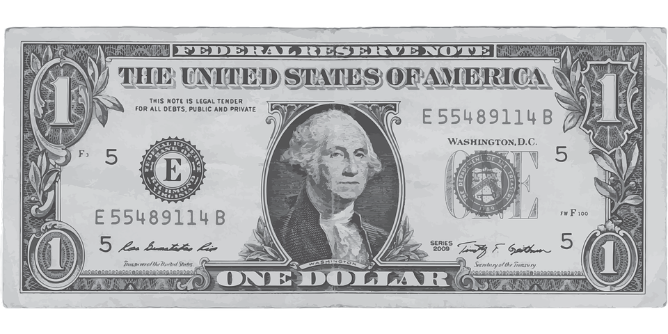 Dollar, One, Money, Front, Us, Bank, Note, Finance, - One Dollar Bill PNG