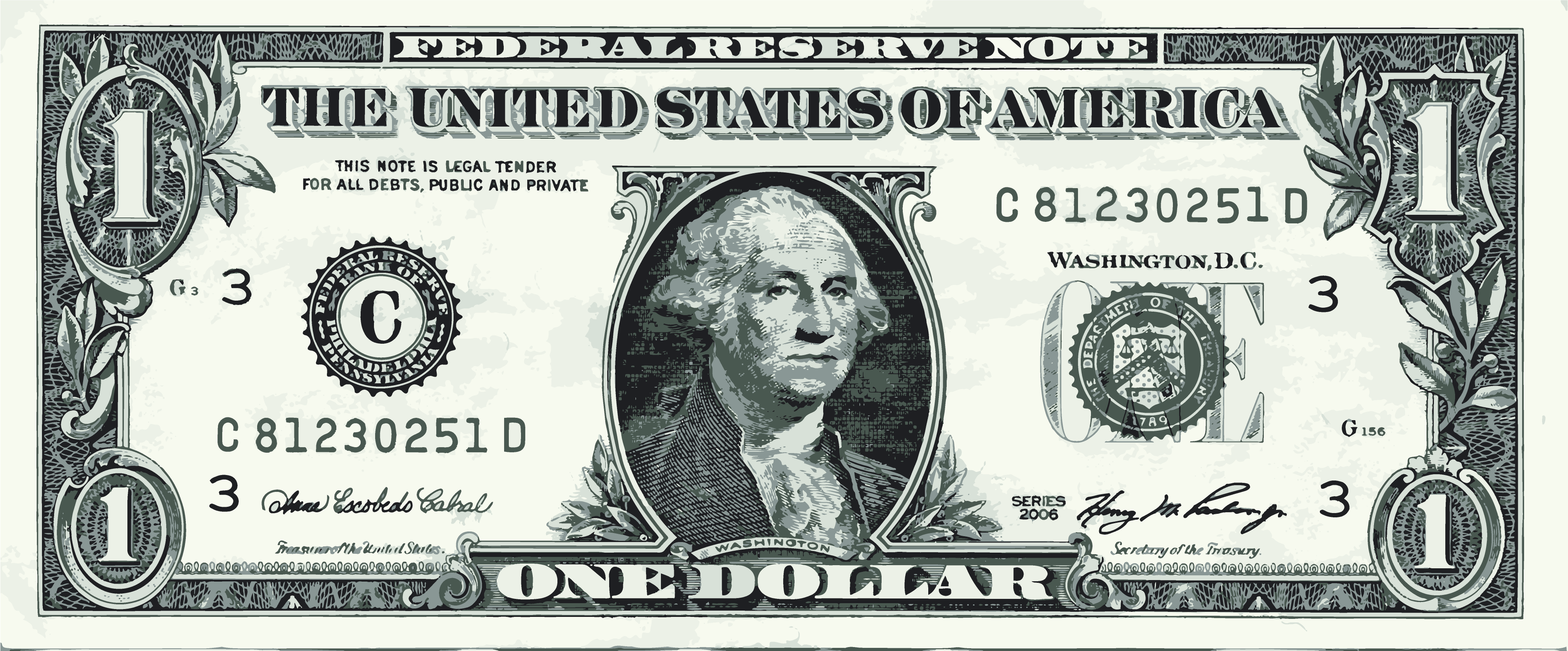 george-washington-one-dollar-bill-vector-graphic-art - One Dollar Bill PNG