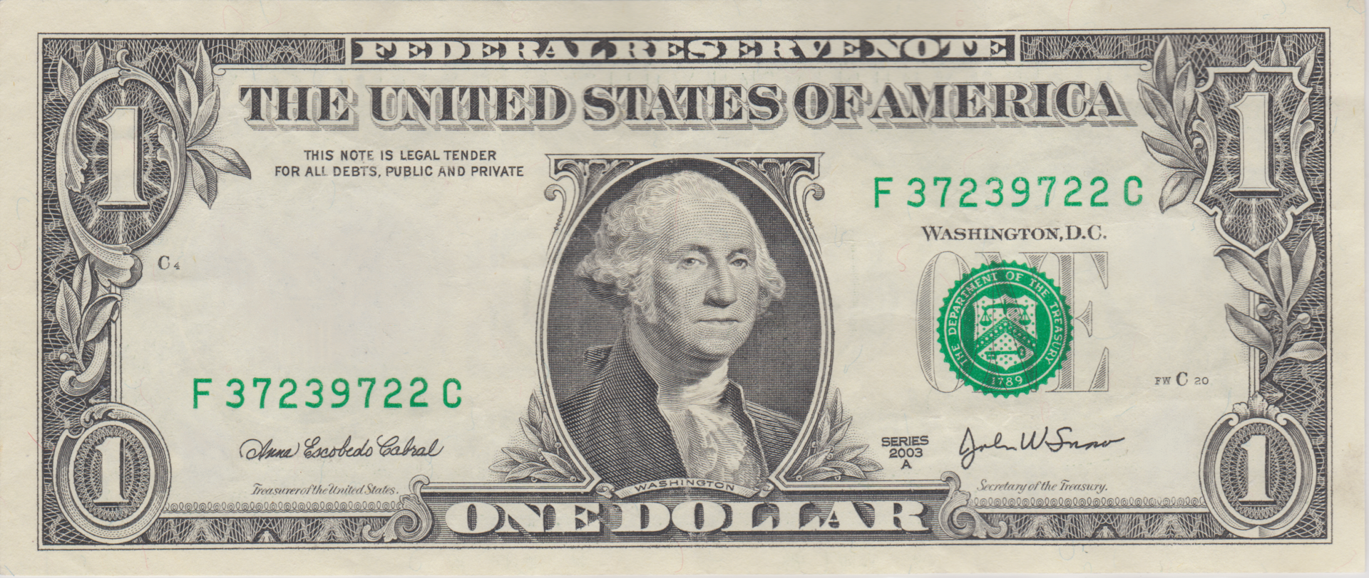 JPG scan.png - One Dollar Bill PNG