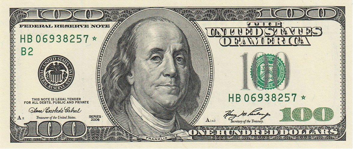 One Hundered Dollar Bill - One Dollar Bill PNG