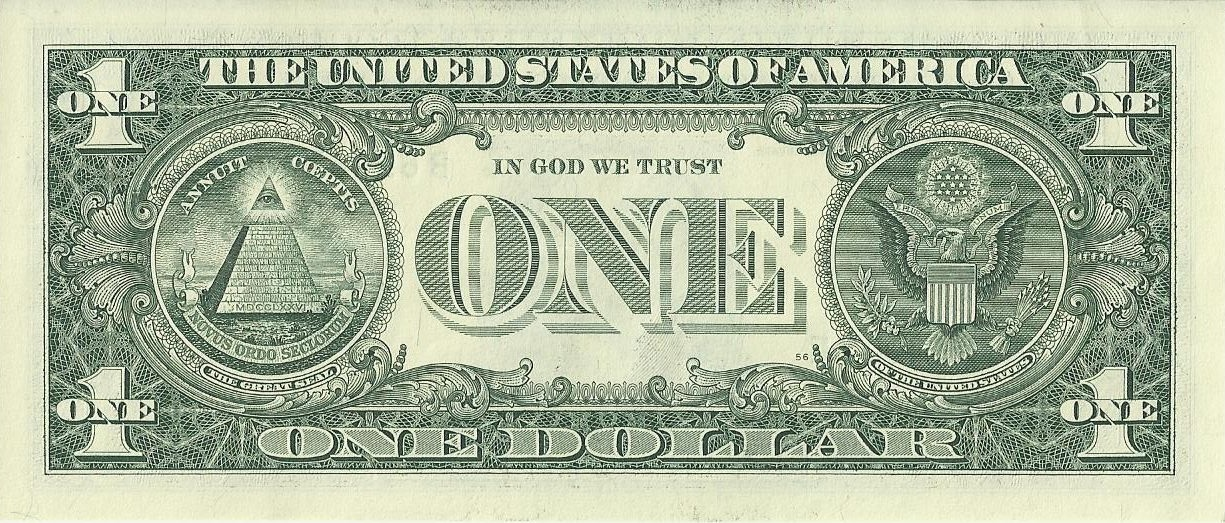 . PlusPng.com US one dollar bill, reverse, series 2009.jpg - One Dollar Bill PNG