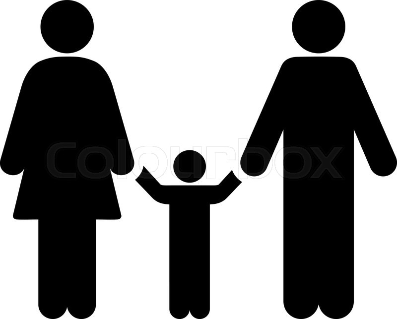 Parents And Child vector icon. Style is flat symbol, black color, rounded  angles, white background, vector - One Kid PNG Black And White