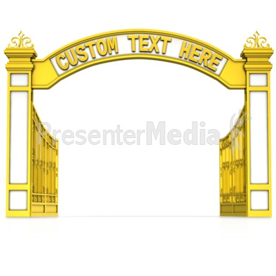 Open Gate Custom Text PowerPoint Clip Art - Open Gate PNG