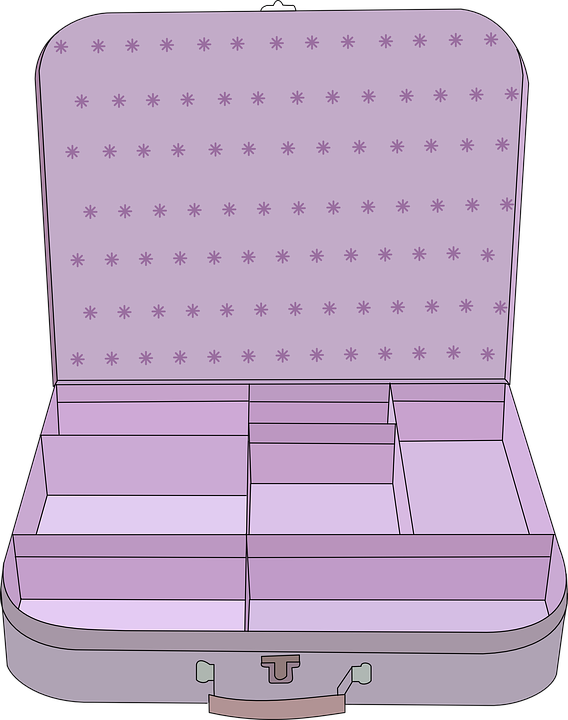 Suitcase, Purple, Open, Compartment, Baggage, Handle - Open Suitcase PNG HD