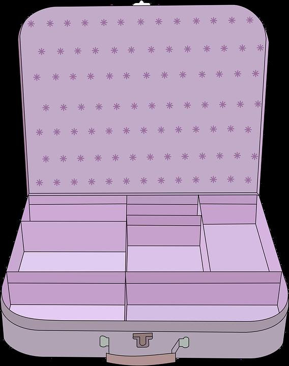 Suitcase, Purple, Open, Compa