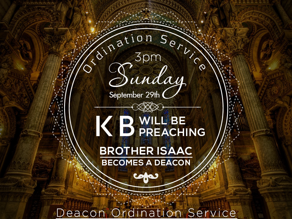 We are having a special ordination service for brother Isaac as he gets  ordained as a official deacon of the church. We will have a regular 11am  service PlusPng.com  - Ordination Service PNG