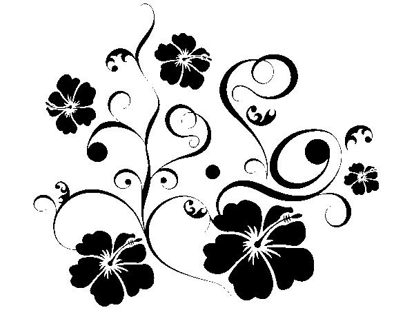 Wandtattoo Hibiscusornament 4 - Ornamente Vorlagen Kostenlos PNG