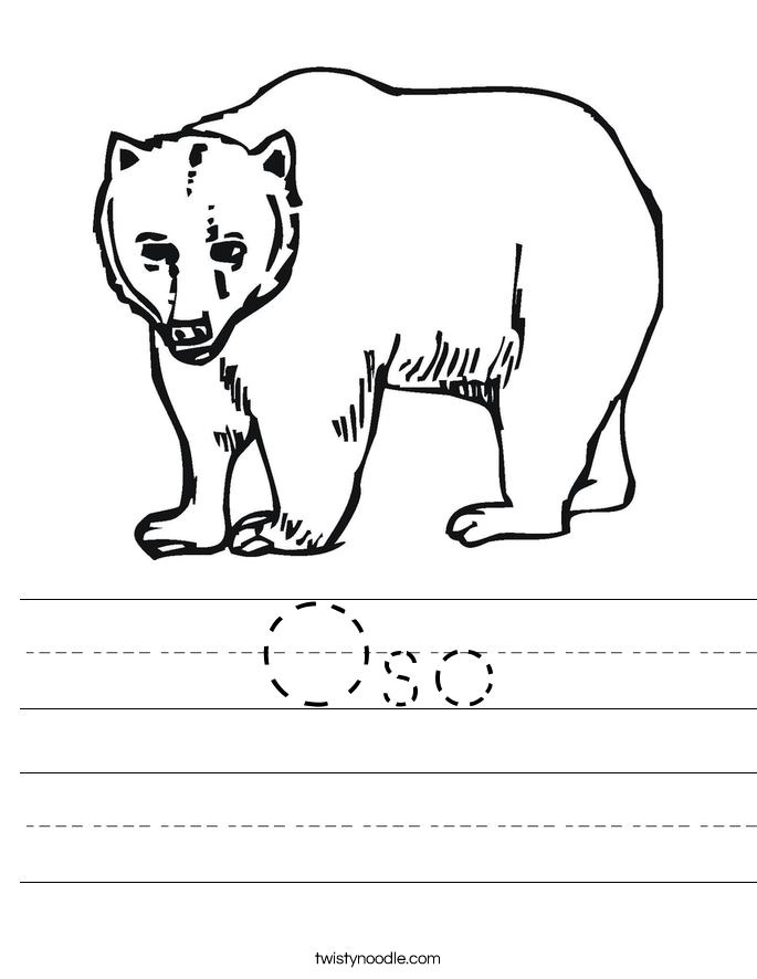 Oso Worksheet. - Oso PNG Black And White