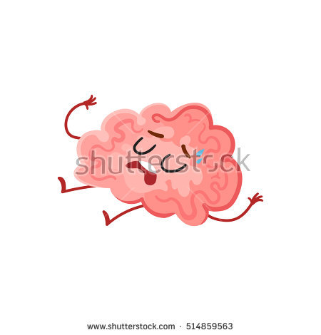 Funny tired, cute worn out brain character as a symbol of stress and  overtraining, - Outbrain Vector PNG
