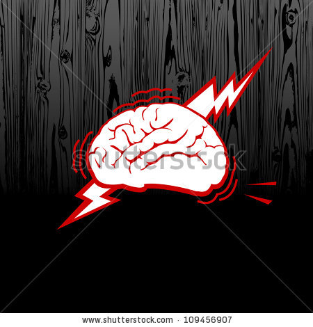 stressed out brain on dark wood - Outbrain Vector PNG