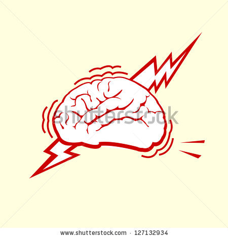 Stressed out brain with thunderbolt - Outbrain Vector PNG