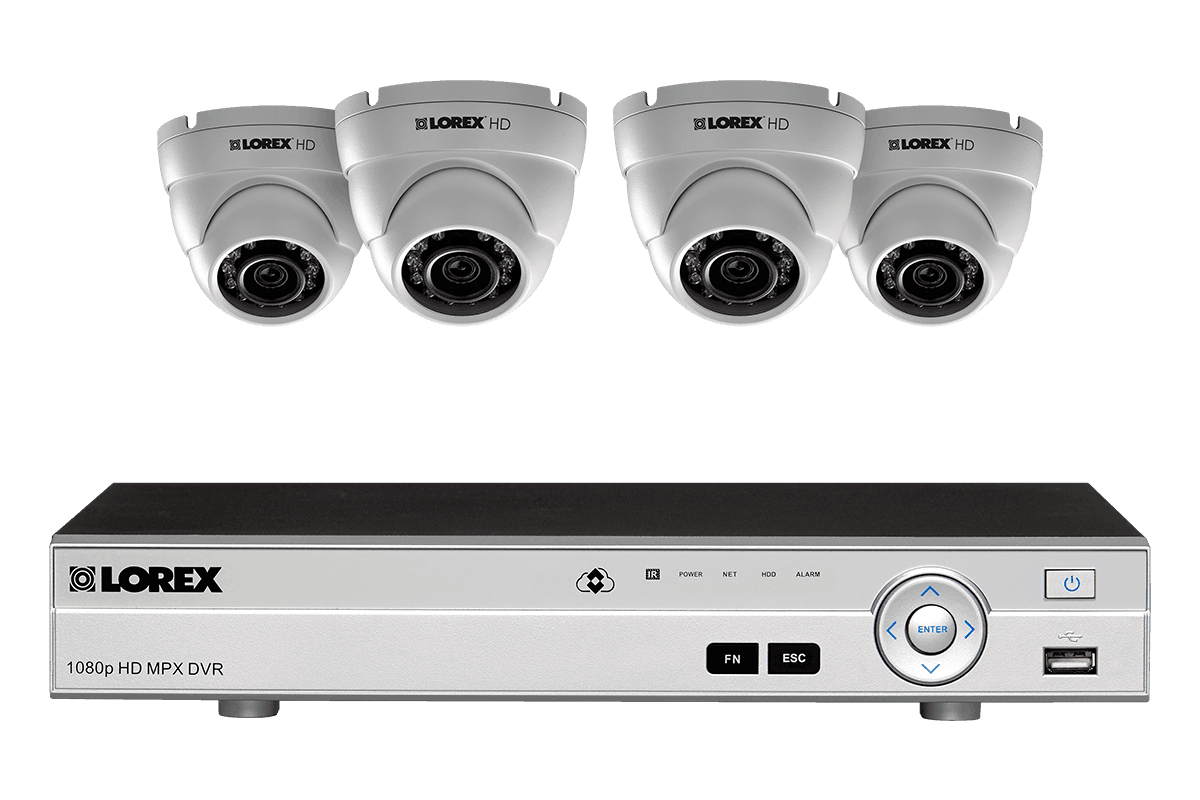1080p HD home Security System with 4 Outdoor Dome Cameras - Outdoor PNG HD