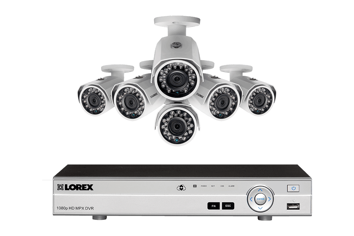 HD 1080p surveillance system with 6 outdoor security cameras and 8 channel  DVR - Outdoor PNG HD