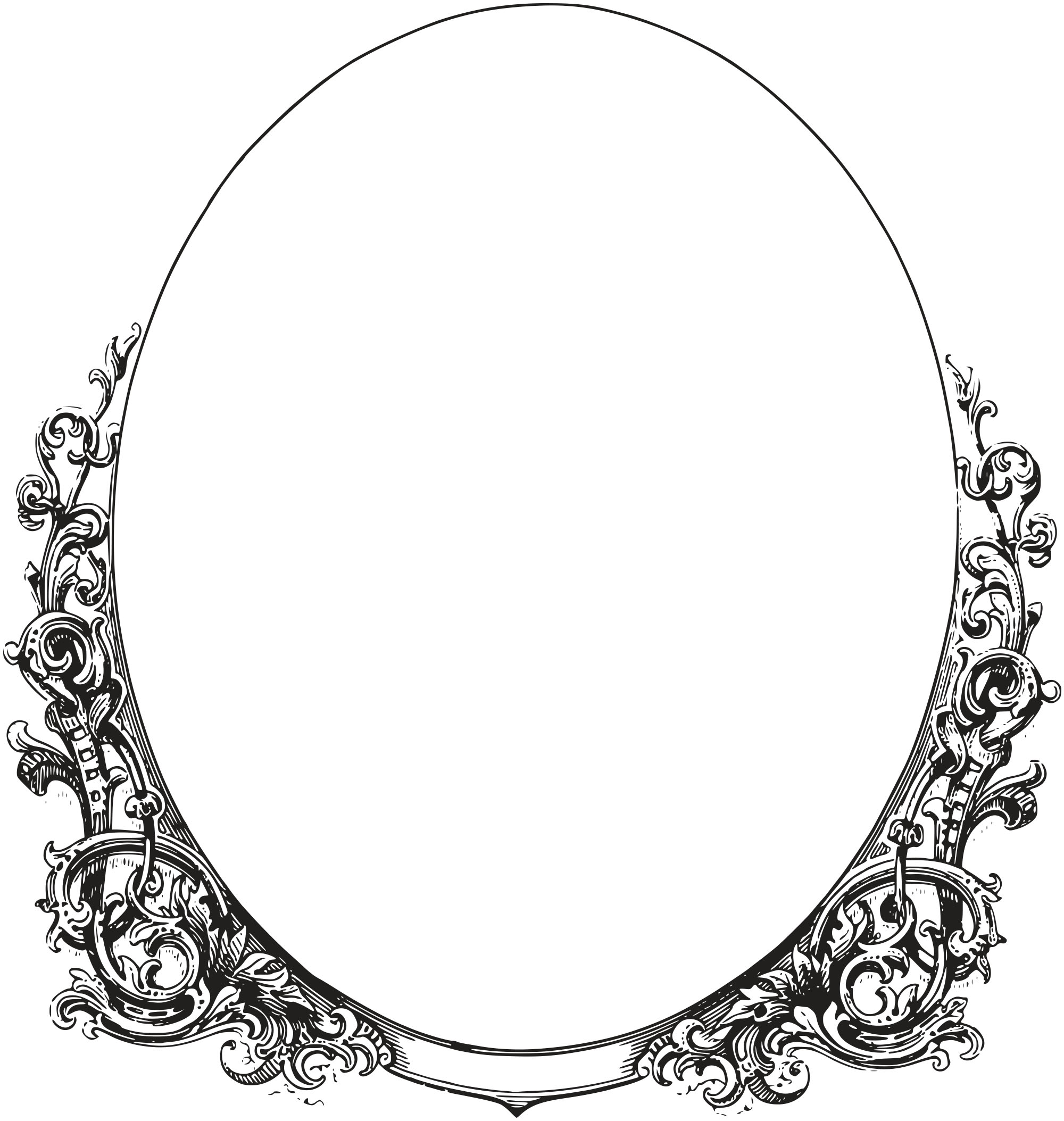 Oval PNG Black And White - 73289