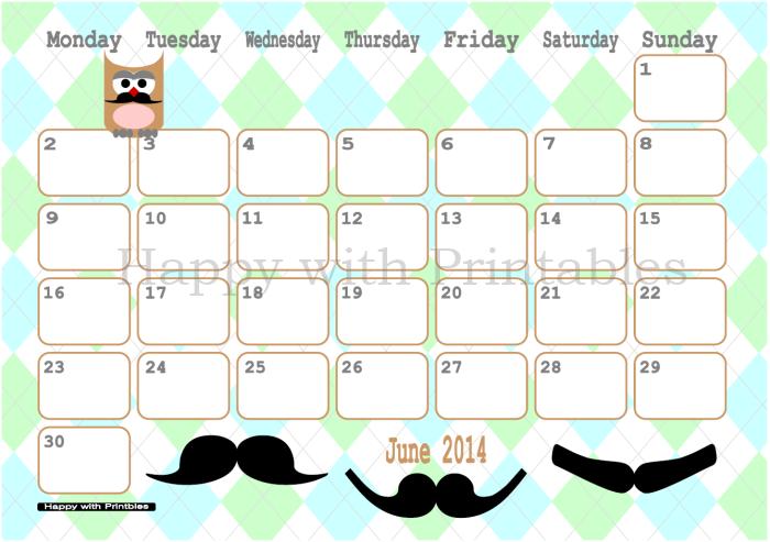 Calendar June 2014 Printable - Moustache - Owl - Cute Planner - Owl Calendar PNG