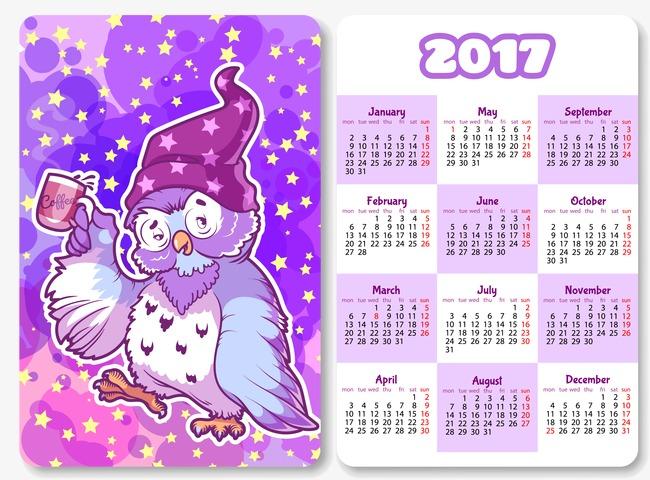Cartoon Owl calendar 2017, 2017, Cartoon, Owl Free PNG and Vector - Owl Calendar PNG