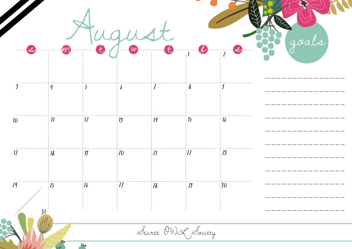 Freebie Friday: August Calendar - Owl Calendar PNG