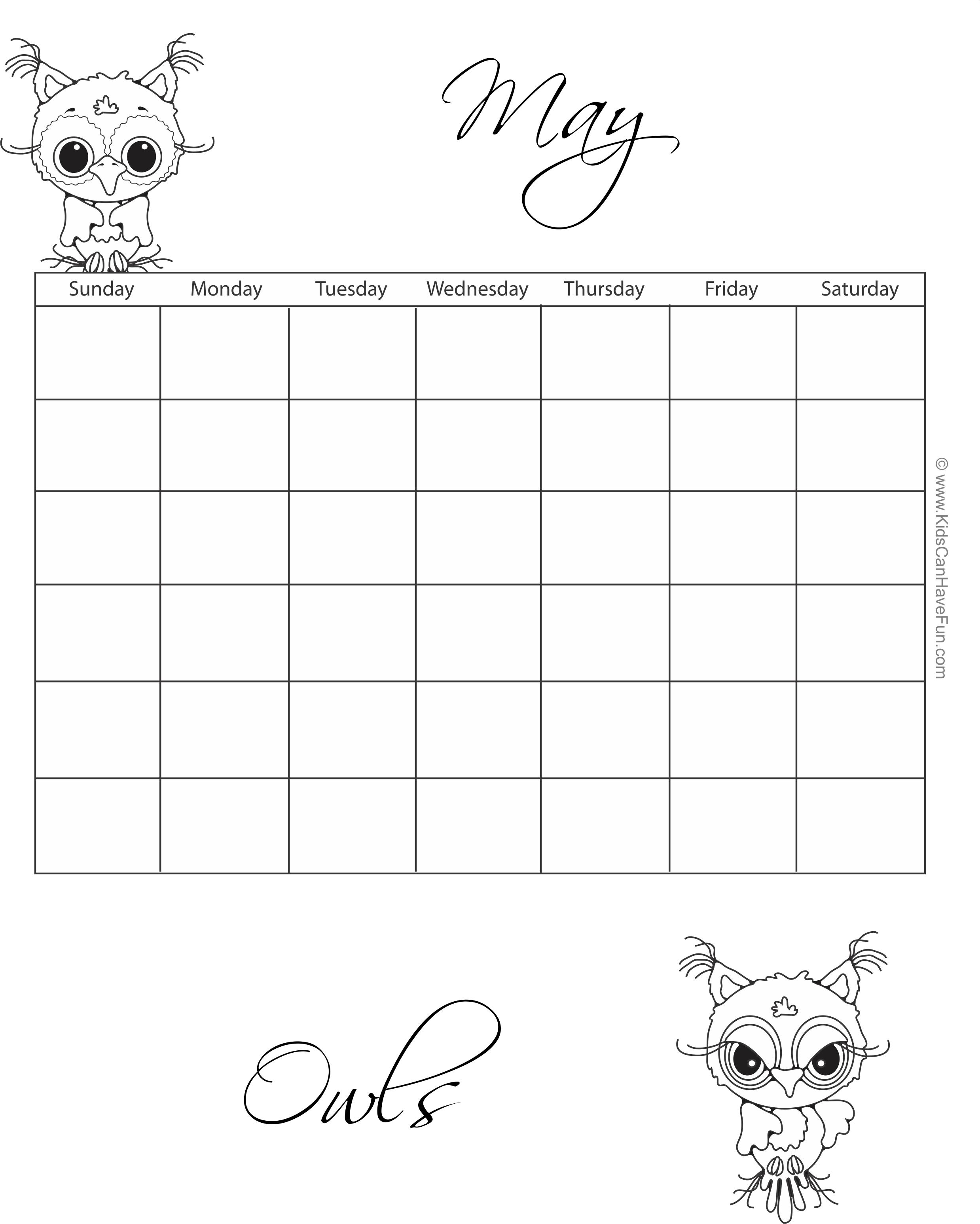 May Owls Coloring Calendar http://www.kidscanhavefun pluspng.com/printable- - Owl Calendar PNG