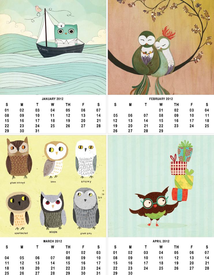 Owl Lover Calendar 2012 - Owl Calendar PNG