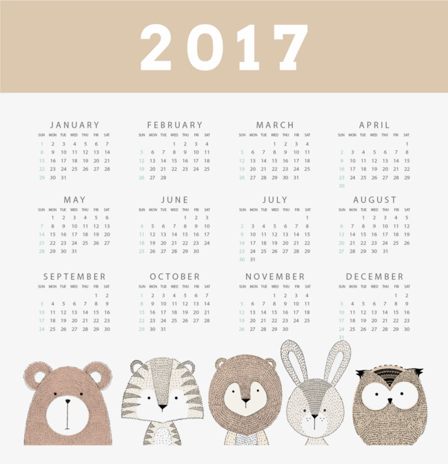 Vintage style calendar 2017 small animals, Retro Style, Owl, Bunnies PNG  and Vector - Owl Calendar PNG