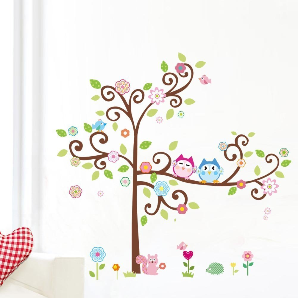 1 X Colorful Flower And Owls On The Tree Cartoon Wall Decor Sticker,  Removable Decals For Kids Room Decoration, For Living Room by soferrior - -  Amazon pluspng.com - Owls In A Tree PNG